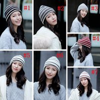 Woman Knit Striped Hat Fashion Warm Winter Crochet Skull Cap...