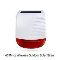 Freeshipping 433MHz 5mA Wireless Outdoor Solar-Sirene Licht-Blitz-Strobe Wasserdichtes Sirene Alarm für Home Security WiFi GSM-Alarmsystem