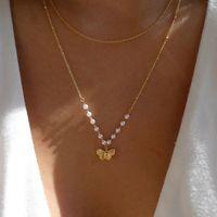 Mode Pearl Schmetterlingskombination mehrschichtige Halskette Damen Street Style All Match Pullover Kette Frauen