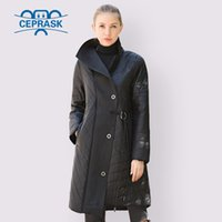 CEPRASK Spring Autumn Jacket Women Hot sale Thin Cotton Parka Fashion Collar Asymmetry Long Plus Size Coat Warm Clothes 201015
