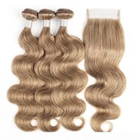 Pacotes de cabelo humano brasileiro com fechamento # 8 Ash loira corporal onda 4 pacotes com 4x4 lace fechamento remy extensões de cabelo humano