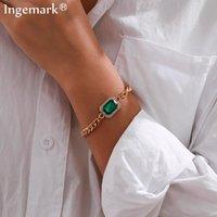 Hohe qualität Blaue Strass Kette Armbänder Armreifen Frauen Männer Vintage Eisen Twisted Gold Color Unisex Handgelenk Modeschmuck Geschenk