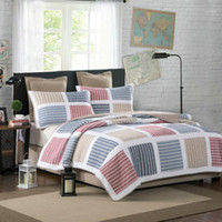 Colorful Striped Quilt Bedding Set, 3Pcs Real Hand Patchwork ...