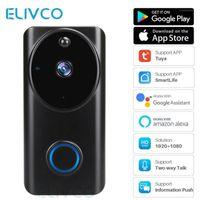 Video-Door-Telefone Tuya WiFi-Türklingel arbeitet mit Alexa Google Assistant 1080p Smart Intercom Bell Home Security IP Camera Monitor1