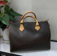 Schnelle klassische Handtasche natürliche Fass geformt Rindsleder Trim Textilfutter Gold Hardware 2 Griffe Frauen Boston Umhängetaschen
