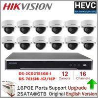 هيكفيجن كاميرا الأمن أطقم جزءا لا يتجزأ من التوصيل اللعب NVR + DS-2CD2183G0-I 8MP IP كاميرا قبة POE H.265 للمنازل مكتب السلامة
