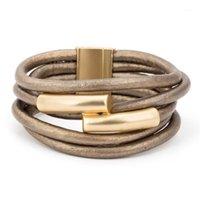 Multilayer Gold Color imán gris PU cuerda envoltura pulsera bilíklik pulseira feminina pulseras para mujer pulsera1