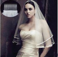 2020 Новое прибытие Свадебные аксессуары Два слоя ленты Край белого цвета слоновой кости фаты Фата с расческой