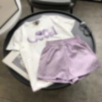 Kadın Moda Rahat Kısa Kollu T-shirt + Jakarlı Kumaş Şort Set 100% Pamuk Kısa Kollu T-shirt Işlemeli Mektup Tasarım Kadınlar