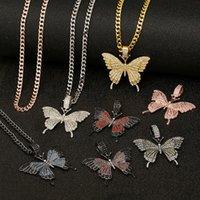 Diament Iced Out Łańcuchy Naszyjnik Kubański Link Łańcuch Hip Hop Butterfly Wisiorek Spersonalizowany Biżuteria Party Dostawy 15 sztuk T1i3396