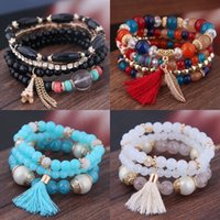 Quasten Perlen Charm Armband Handgemachte Webart Blatt Multicolor Herren Frauen Schmuck Armbänder Mode Nagelkette 4 9WY J2B