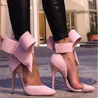 2020 Moda Sexy Big Bow Pointed Toe 11 cm Tacones altos Sandalias Zapatos Mujer Damas Boda Boda Bombas Bombas Zapato C0202