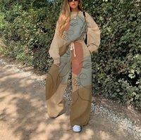Женская цифровая печатная тенденция Trend на две части городские повседневные брюки костюма одежда из двух частей наборы 2 шт. Плюс плюс размер 01