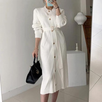 Элегантный O-образным вырезом однобортный Женщины Сплошной свитер платье OL стиль с длинным рукавом Belted Вязаная средней длины платья женские