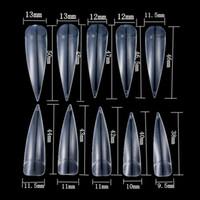 500 teile / sack gemischte größe französisch stiletto nagel natürliche farbe transparent weiße nagelverlängerung extra lange falsche nägel
