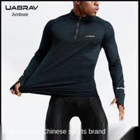 T-shirt all'aperto UABRAV Sport Sport fitness uomo a maniche lunghe formazione da pallacanestro da corsa rapido asciugatura vestiti ad alto colletto con cerniera atletica