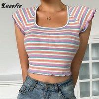 Frauen T-Shirt Lusofie Color Stripe Tops Frauen 2021 Süße Vintage T-Shirt Alltäglich Casual Crop Top Koreanischer Stil Slim Sexy