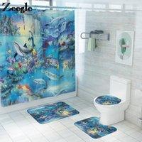 Impressão de esteira de banho e cortina de chuveiro à prova d 'água do banheiro conjunto anti deslizamento para banheiro microfibra absorvente banho set1