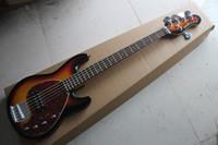 Envío gratis Venta caliente Ernie Ball Musicman Música Hombre Sting Ray 5 cuerdas 9V Pickup activo Sunburst Guitarra eléctrica