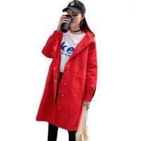 Guanta de mujer Abrigos Vintage Mujeres de gran tamaño con capucha con capucha con capucha de cintura de cordón de pecho suelto Largo rojo Casual rompevientos
