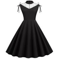 Урожай женское летнее платье 1950-х 60-х годов ретро элегантная сетка марля шипованная жемчужина контрастное совокупность плиссированные платья Vestido повседневная Mujer Q1229