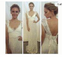 Bohemian Beach Wedding Dresses Full Lace Bridal Dresses 2016 Summer V neck Open Back Wedding Gowns Sexy Vestidos