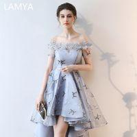 Lamya 자수 댄스 파티 드레스 짧은 프론트 백 꼬리 연회 이브닝 드레스 2019 공식 파티 가운 플러스 크기 우아한 드레스