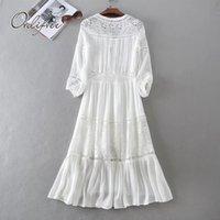 ORTIFREE 2020 Yaz Kadın Uzun Tunik Plaj Elbise Sundress Uzun Kollu Beyaz Dantel Seksi Boho Maxi Elbise Tatil Giysileri LJ201204