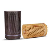 200ml Ultraschall-Luftbefeuchter Aushöhlen Aromatherapie-Maschine USB-Holzkorn-Aroma-ätherisches Öldiffusor mit 7 Farben LED-Licht T3I51547