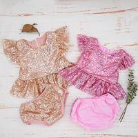 Summer Newborn Baby Girl Clothes Sequins Ruffle Infant Toddler Outfit Boutiques Princess Tops + Shorts 2pcs Set Kids Garment Q1113