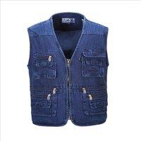 Chalecos para hombres al por mayor- Hyweacvar Multi Funcional Funcional Chaleco Multi-bolsillo Policía Policía Denim Jeans VEST1