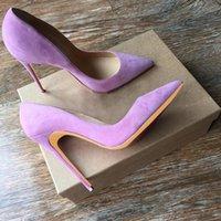 القلقاس الأرجواني الجلد المدبوغ أحذية عالية الكعب 12CM الكعوب المدببة الخنجر أحذية تو العروس أحذية الزفاف الوردي الأحمر الأزرق الضحلة حزب 10CM مضخات