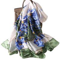 Silido Silido Echarpe Femme HIVER LUXE DE LUJO DE LUJO FRANCIA IRISES IRISES Imprimir Foulard Ladies Floral Bandana Spring Hijab Bufanda para las mujeres Talla grande 180 cm