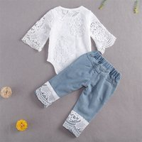 Mababy 0- Newborn Infant Baby Girls Ropa Set Lace Blanco Romper Denim Pantalones Autumn Baby Chica Trajes Ropa LJ201223