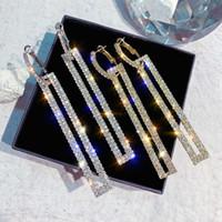 2021 donne wedding shiny full rhinestone goccia orecchini quadrati lungo nappa di cristallo pendenti orecchini gioielli moda gioielli regali