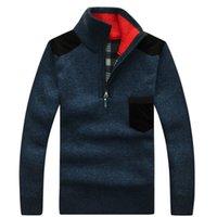 Зимняя мужская водолазка свитер наполовину Zip Flece вязаная шерстяная пуловер с длинным рукавом кармана вскользь мужская толстая одежда для осени 201021