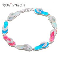 Charm Bracelets 14.23g Wholesale & Retail Flip Flops Color Fire Opal Silver 925 Stamped Fashion Jewelry Party Gifts OB0721