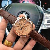 Bon marché chronomètre chronomètre chronomètre montres de luxe quartz calendrier calendrier montre-bracelet en cuir mode affaires hommes regarder la vente en gros