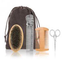 Beard jogo de escova dupla face Styling Comb Scissor Repair Modeling Cleaning Kit Cuidados