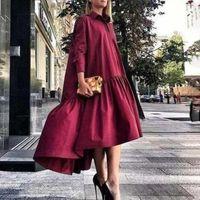 Повседневные платья Vonda 2021 с длинным рукавом Maxi стильные твердые обороты платья женские осенние сарафан асимметричный женский халат1
