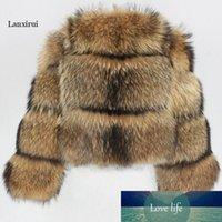 Chaqueta de invierno Mujeres grande esponjoso abrigo de piel artificial fake mapache de piel gruesa cálida ropa exterior streetwear no hay un vesto removible