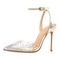 새로운 여성 붉은 바닥 하이힐 PVC 가죽 스트라미 라인 석 얕은 입 붉은 밑창 결혼식 신발 신발 신발 뾰족한 발가락 드레스 신발