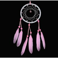 Handmade Pink Feather Dream Catcher DIY Wall Hanging Drop Interspersed Handmade Gifts Home Decor Free Shipping