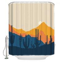 Cartoon montagnes jaunes Cactus désert Sunset Rideau de douche imperméable et oïdice en polyester Tissu de bain de bain design1