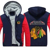 북미 하키 남성 겨울 캐주얼 재킷 따뜻한 두꺼운 후드 패션 스웨터 시카고 블랙 호크스