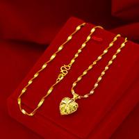Mode Echte 18 Karat Gold Halskette Anhänger Für Frauen Hochzeit Engagement Schmuck Liebe Herzkette Halskette Choker Geburtstagsgeschenke Mädchen 201203