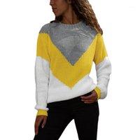 조깅 의류 2021 가을과 겨울 풀오버 여성 느슨한 긴 소매 대비 리브 스웨터 셔츠 큰 siz1