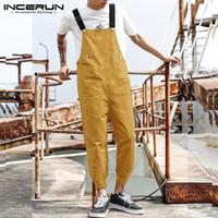 Incerun Moda Homens Jumpsuit Cor Sólida Cor Corredores Streetwear Suspensórios Babéticos Bib Calças Mens Mãos Casuais 2020 Bolsos Soltos Macacões
