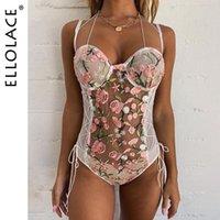 Ellolace вышивки шнурка тела женщин сексуальный фитнес Bodysuit рукавов Bodycon Rompers See Through Комбинезоны 2020 новый оптовый