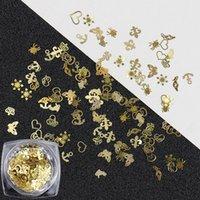 100 pçs / lote ouro ouro decalques de unhas ultra-finas flocos pregos bling strass 3d bonito nail art decorações charme unhas arte rebites